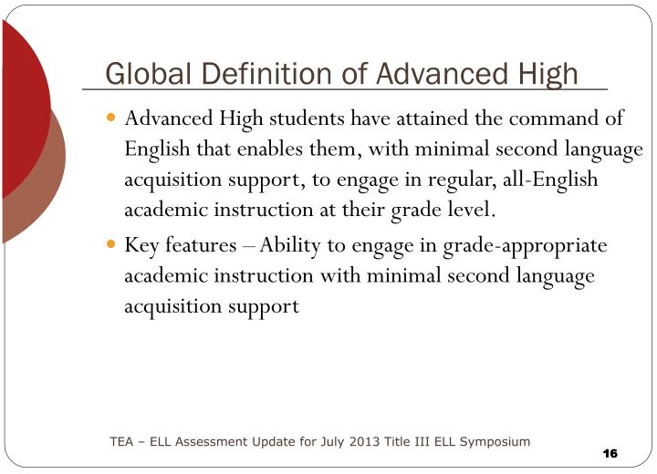 Global Definition of Advanced High
