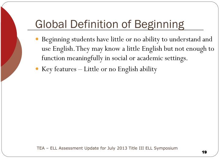 Global Definition of Beginning