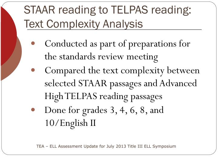 STAAR reading to TELPAS reading: Text Complexity Analysis