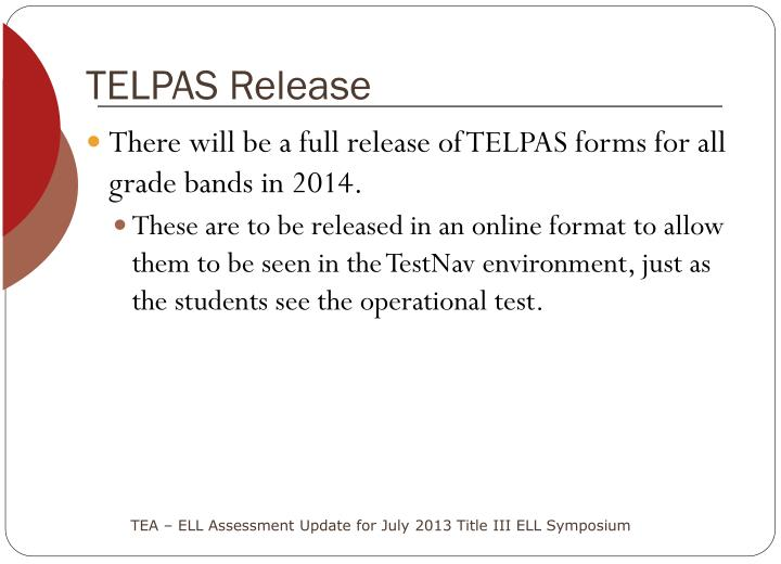 TELPAS Release