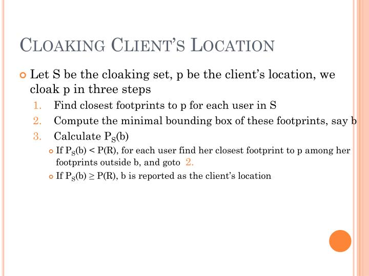 Cloaking Client's Location