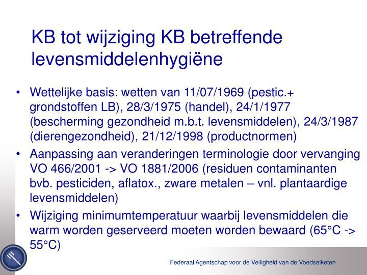 KB tot wijziging KB betreffende levensmiddelenhygiëne