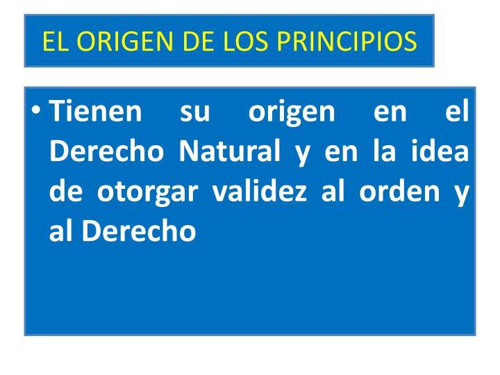 EL ORIGEN DE LOS PRINCIPIOS