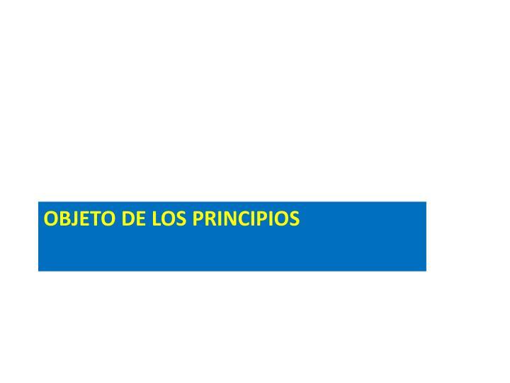 OBJETO DE LOS PRINCIPIOS
