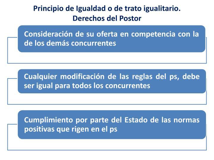 Principio de Igualdad o de trato igualitario.