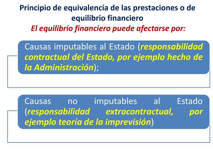 Principio de equivalencia de las prestaciones o de equilibrio financiero
