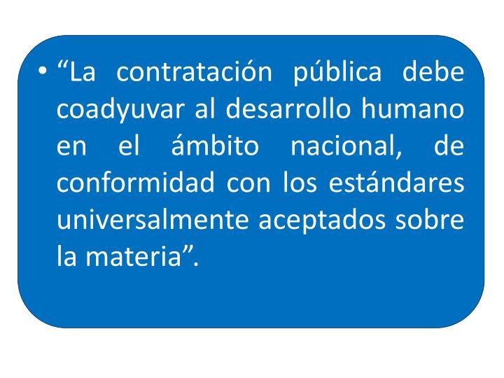"""""""La contratación pública debe coadyuvar al desarrollo humano en el ámbito nacional, de conformidad con los estándares universalmente aceptados sobre la materia""""."""