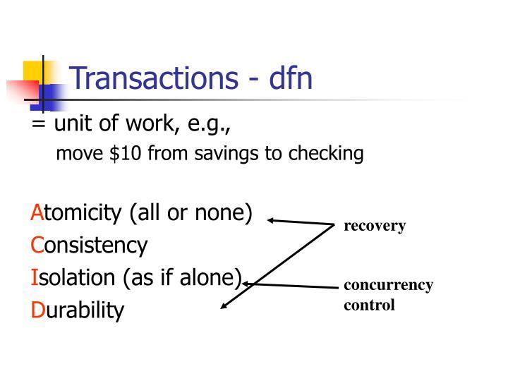 Transactions - dfn