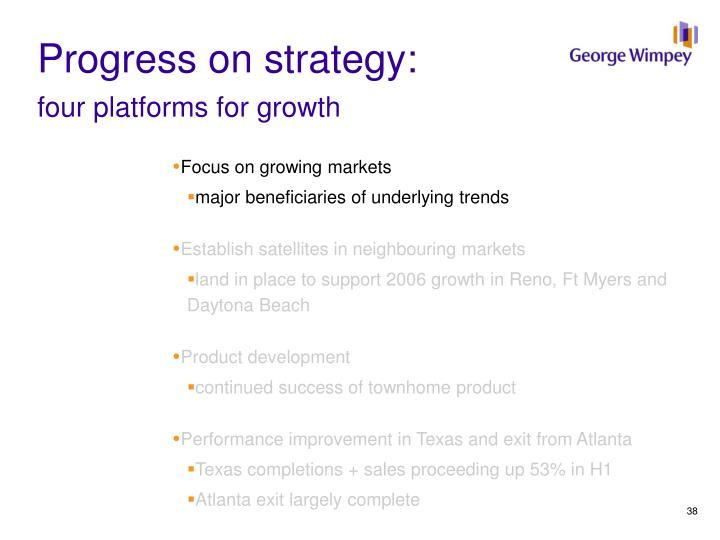 Progress on strategy: