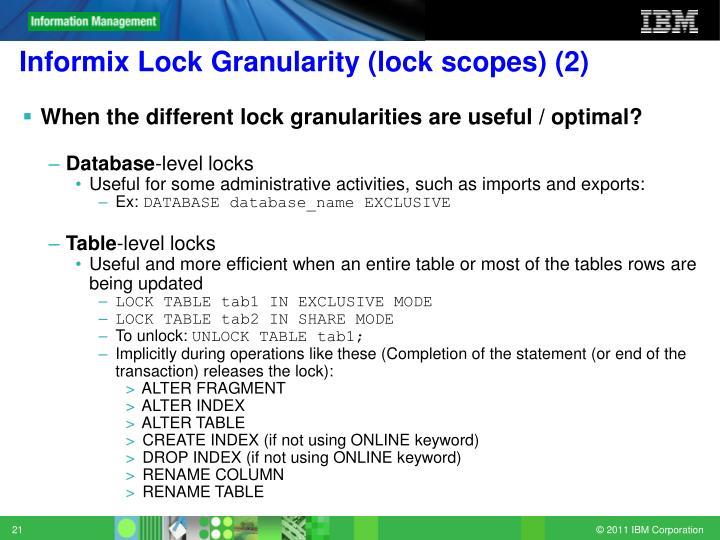 Informix Lock Granularity (lock scopes) (2)