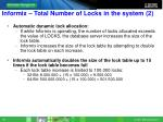 informix total number of locks in the system 2