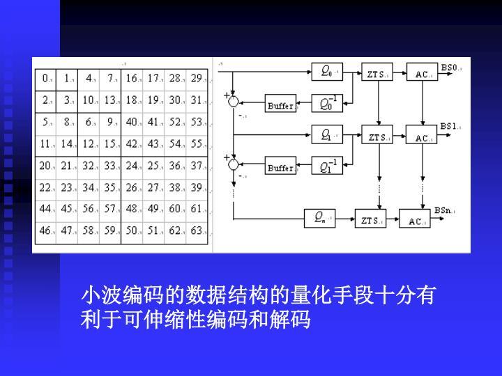 小波编码的数据结构的量化手段十分有利于可伸缩性编码和解码