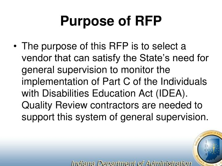 Purpose of RFP