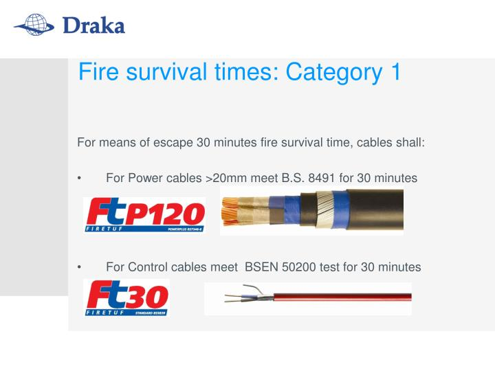 Fire survival times: Category 1