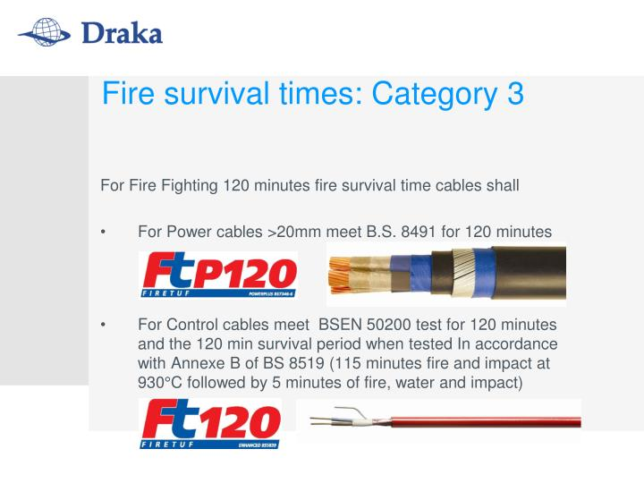 Fire survival times: Category 3