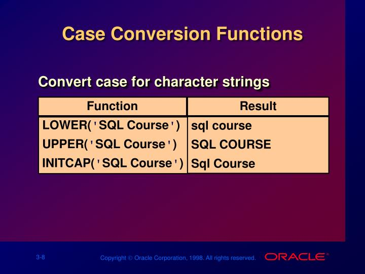Case Conversion Functions