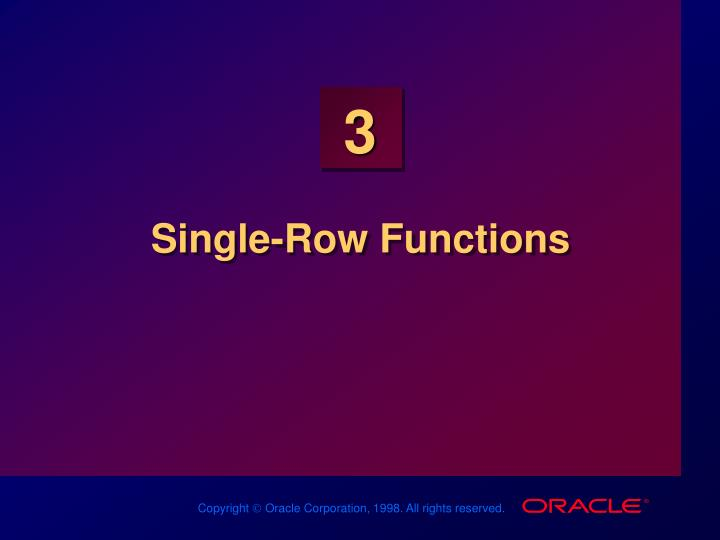 Single row functions
