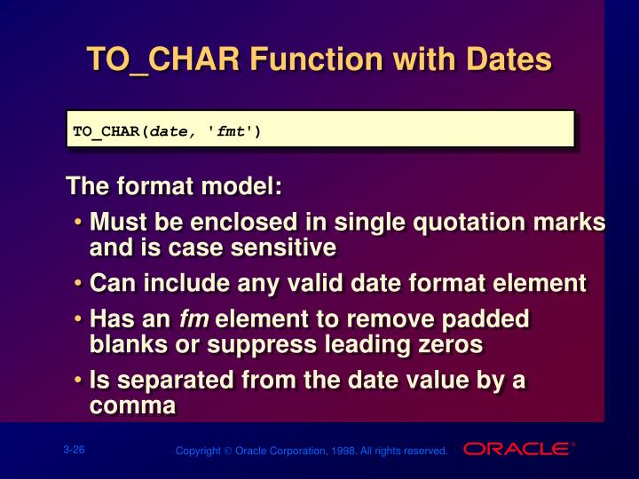 TO_CHAR Function with Dates