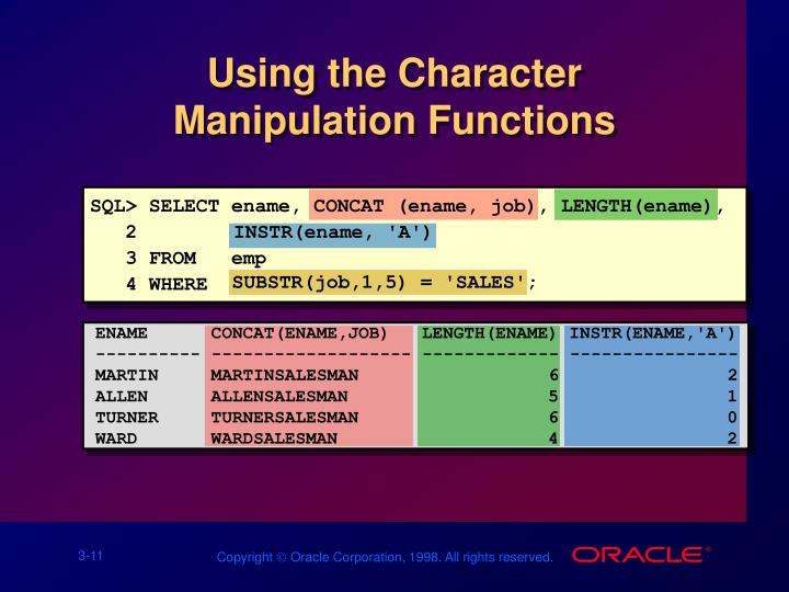 Using the Character Manipulation Functions