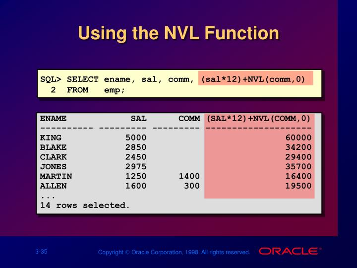 Using the NVL Function