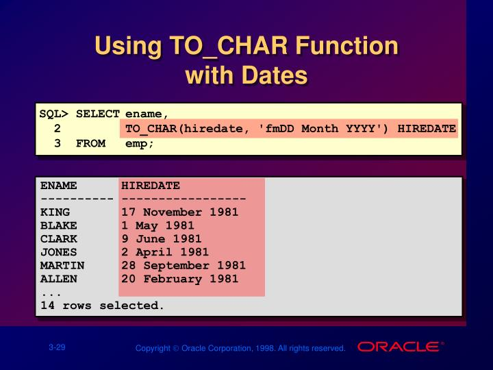 Using TO_CHAR Function         with Dates
