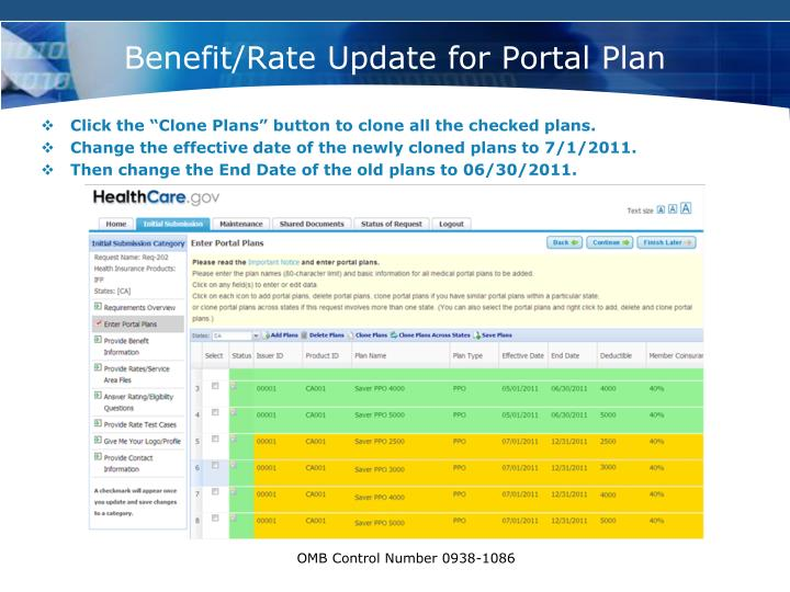 Benefit/Rate Update for Portal Plan