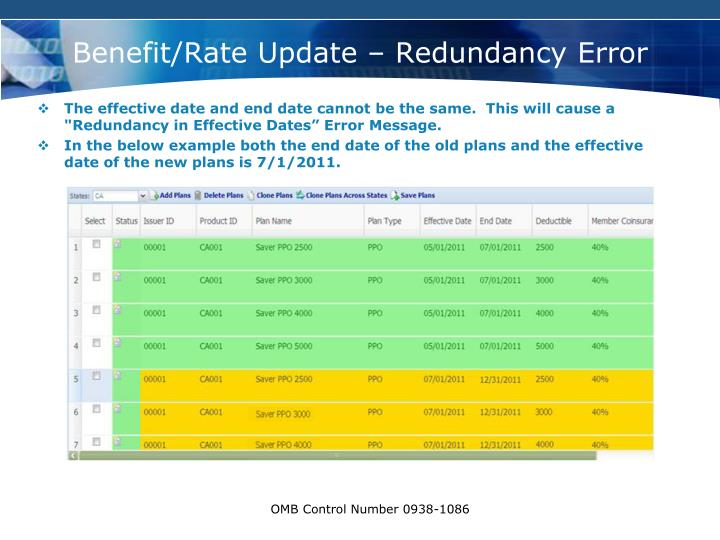 Benefit/Rate Update – Redundancy Error