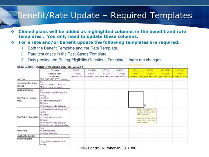 Benefit/Rate Update – Required Templates