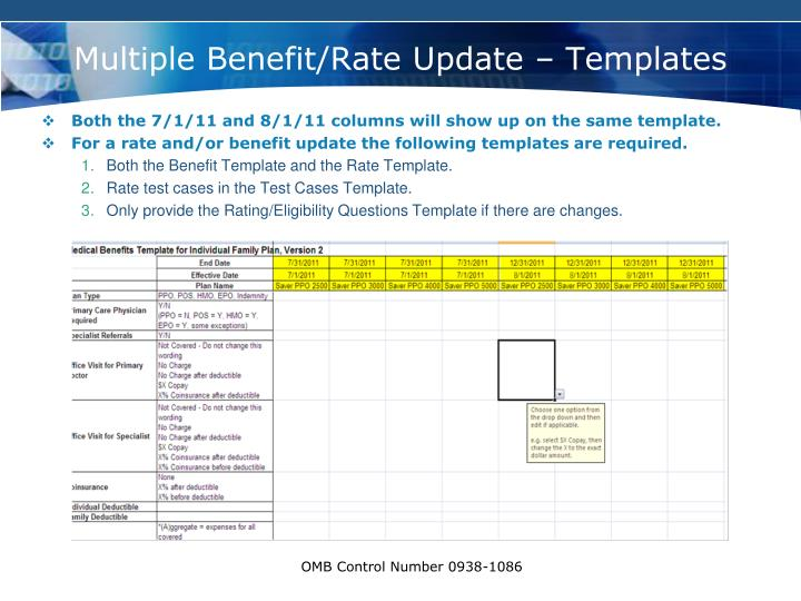 Multiple Benefit/Rate Update – Templates