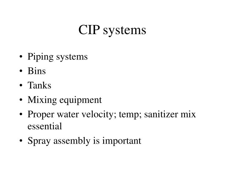 CIP systems