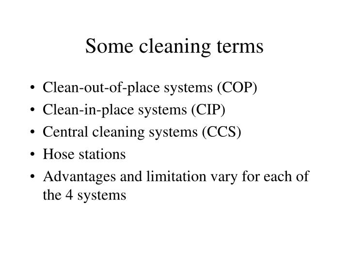 Some cleaning terms