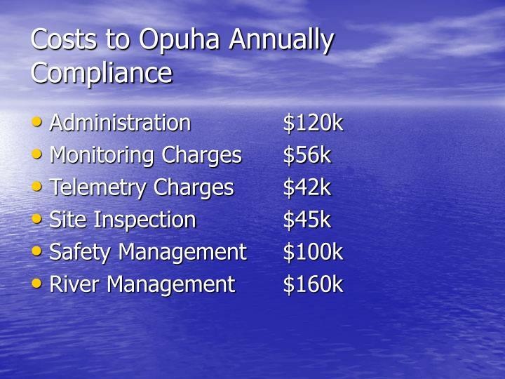 Costs to Opuha Annually