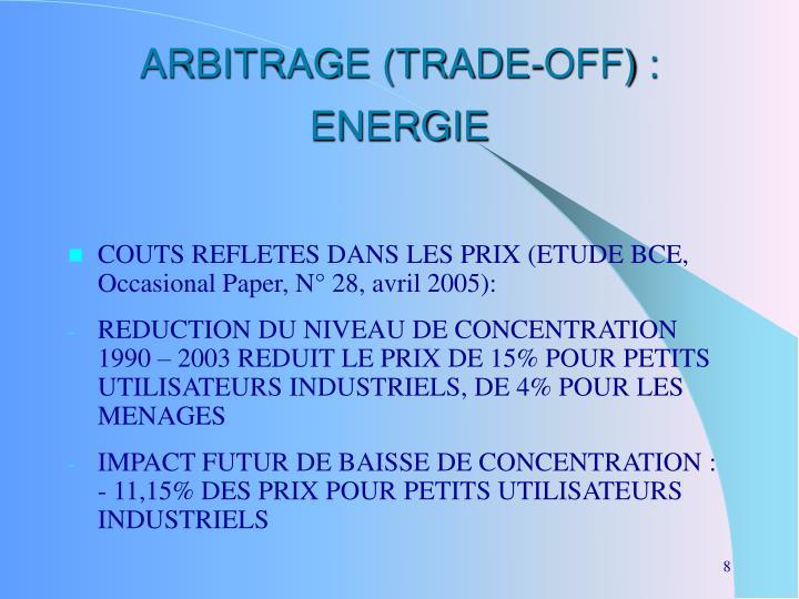 ARBITRAGE (TRADE-OFF) : ENERGIE