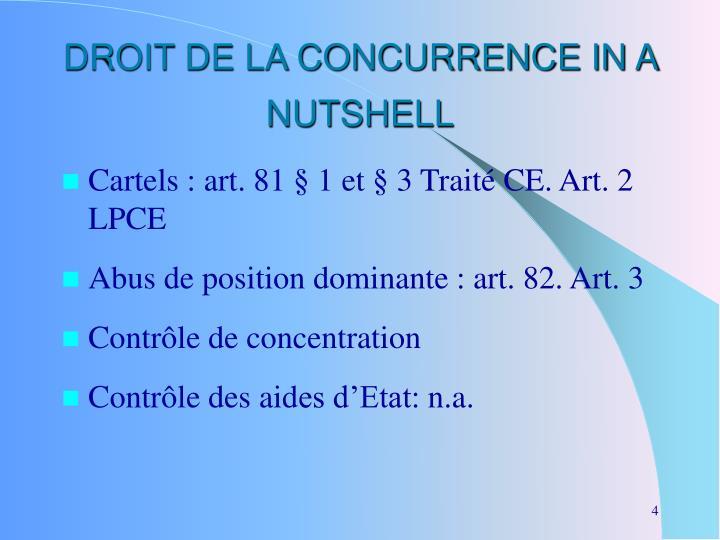 DROIT DE LA CONCURRENCE IN A NUTSHELL