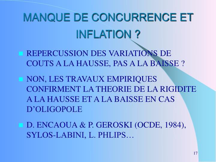 MANQUE DE CONCURRENCE ET INFLATION ?