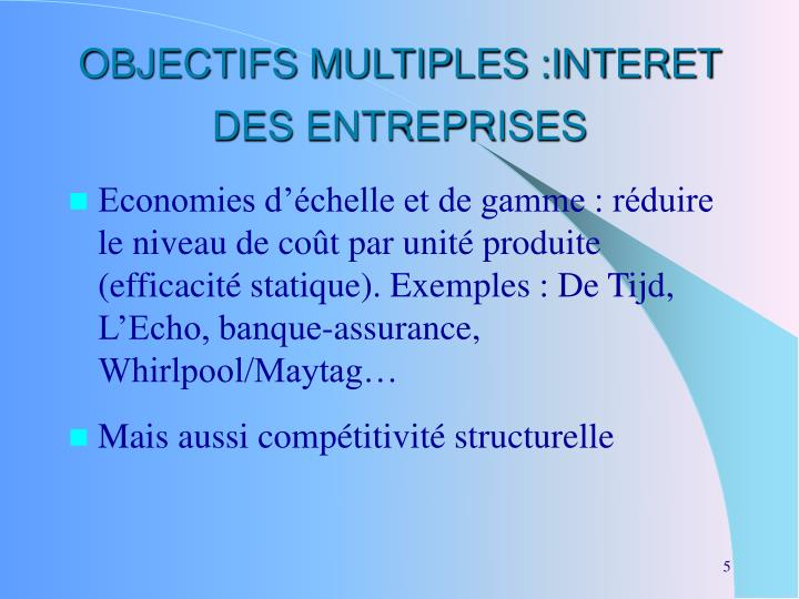 OBJECTIFS MULTIPLES :INTERET DES ENTREPRISES