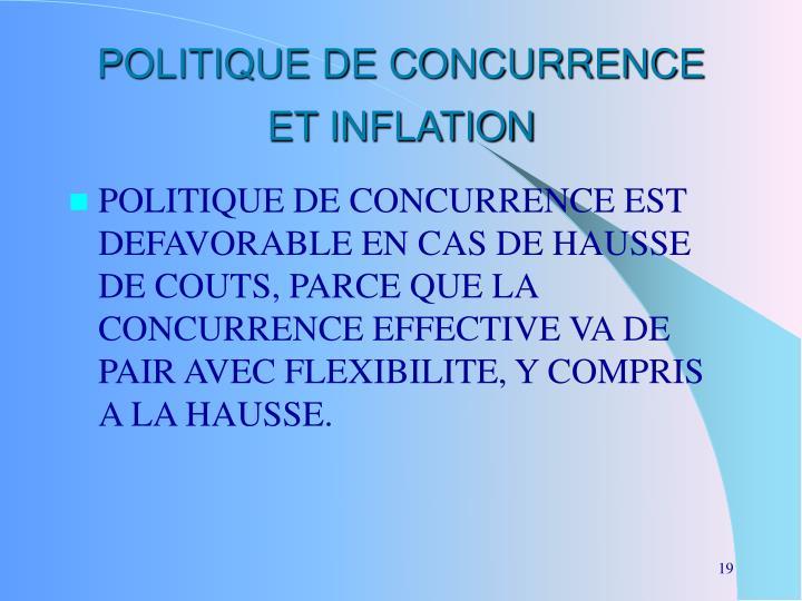 POLITIQUE DE CONCURRENCE ET INFLATION