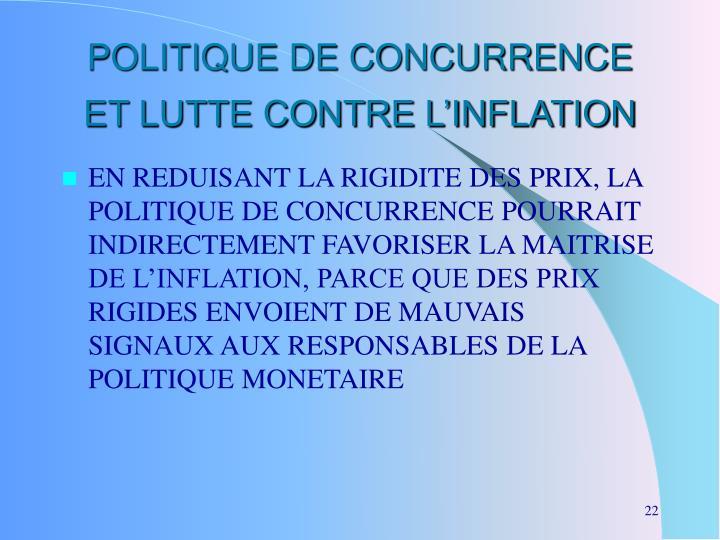 POLITIQUE DE CONCURRENCE ET LUTTE CONTRE L'INFLATION