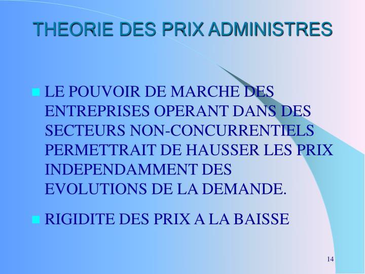 THEORIE DES PRIX ADMINISTRES