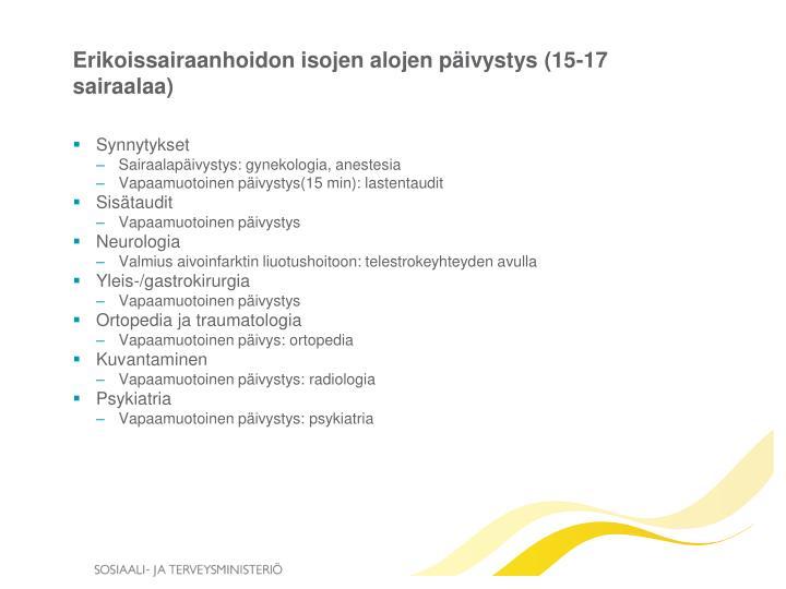 Erikoissairaanhoidon isojen alojen päivystys (15-17 sairaalaa)