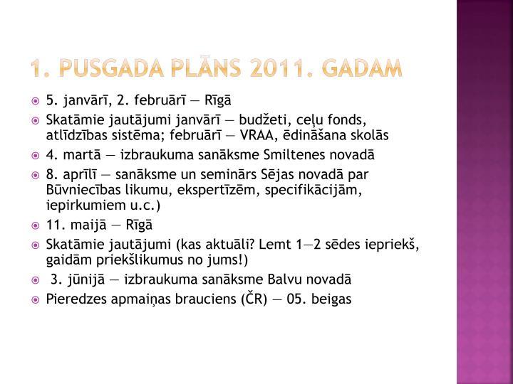 1. pusgada plāns 2011. gadam