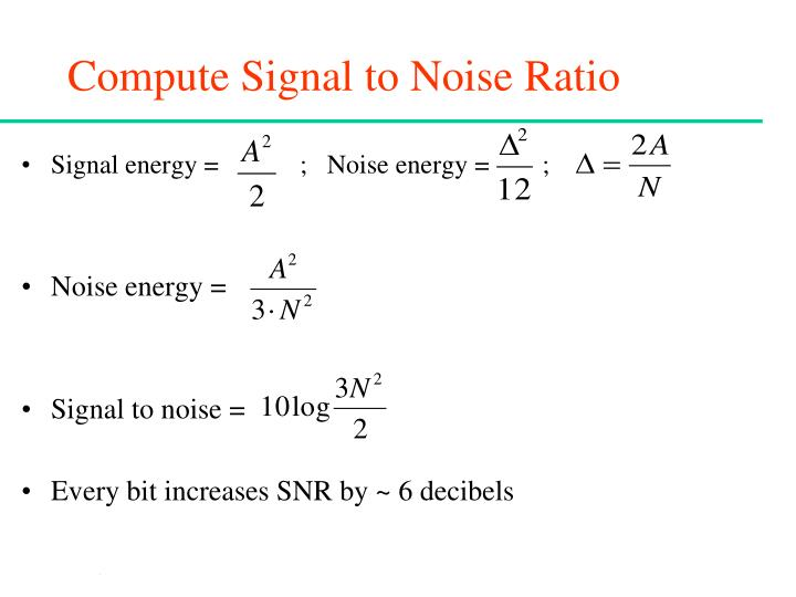 Compute Signal to Noise Ratio