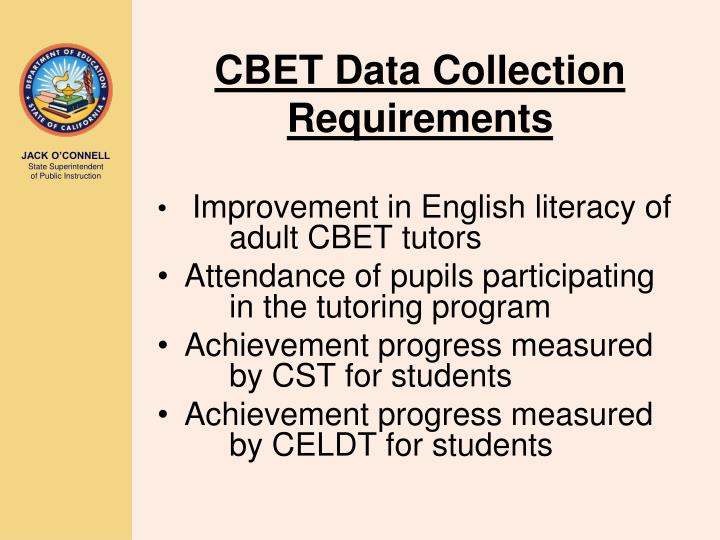 CBET Data Collection Requirements