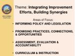 theme integrating improvement efforts building synergies