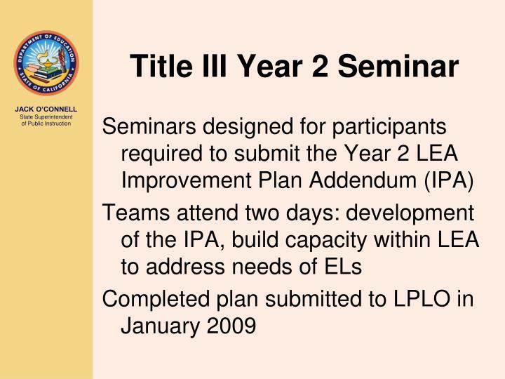 Title III Year 2 Seminar