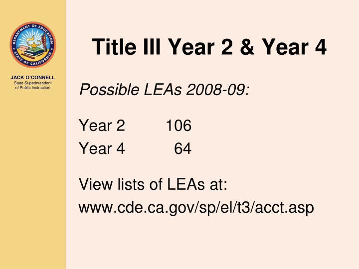 Title III Year 2 & Year 4