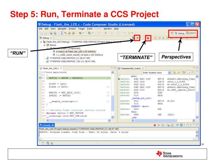 Step 5: Run, Terminate a CCS Project
