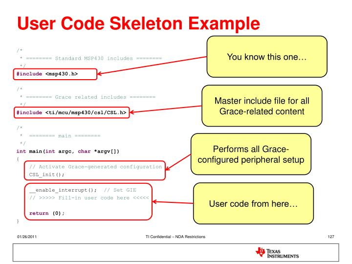 User Code Skeleton Example