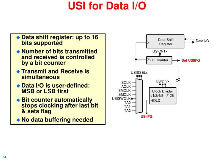 Data shift register: up to 16 bits supported