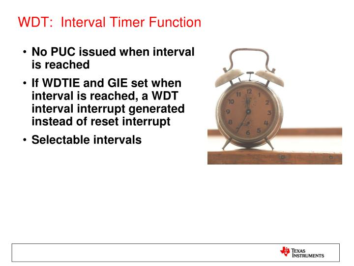 WDT:  Interval Timer Function